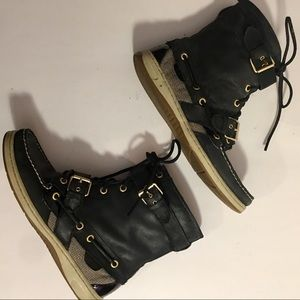 Sperry TopSider Black Huntley Leather Boots Size 8